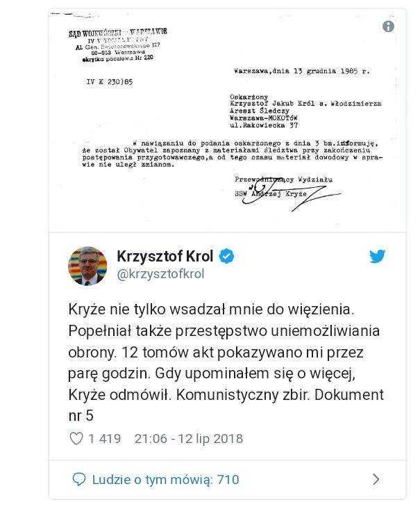 Pileckiego skazał na śmierć Roman Kryże. Jego syn, poseł PiS, skazywał demokratyczną opozycję! 6