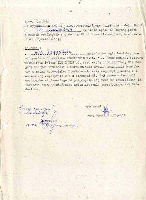 """Bohaterka TVP zarejestrowana przez SB jako Tajny Współpracownik. Święcińska: """"Za przekazywane informacje będę pobierać wynagrodzenie pieniężne"""" 49"""