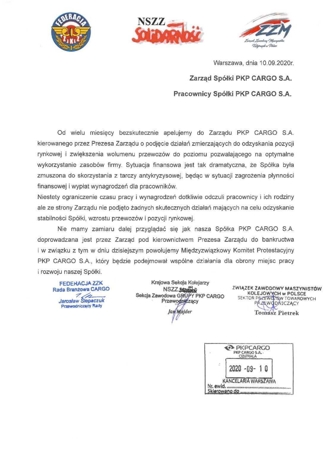 Solidarność PKP Cargo uderza w Adamczyka 3
