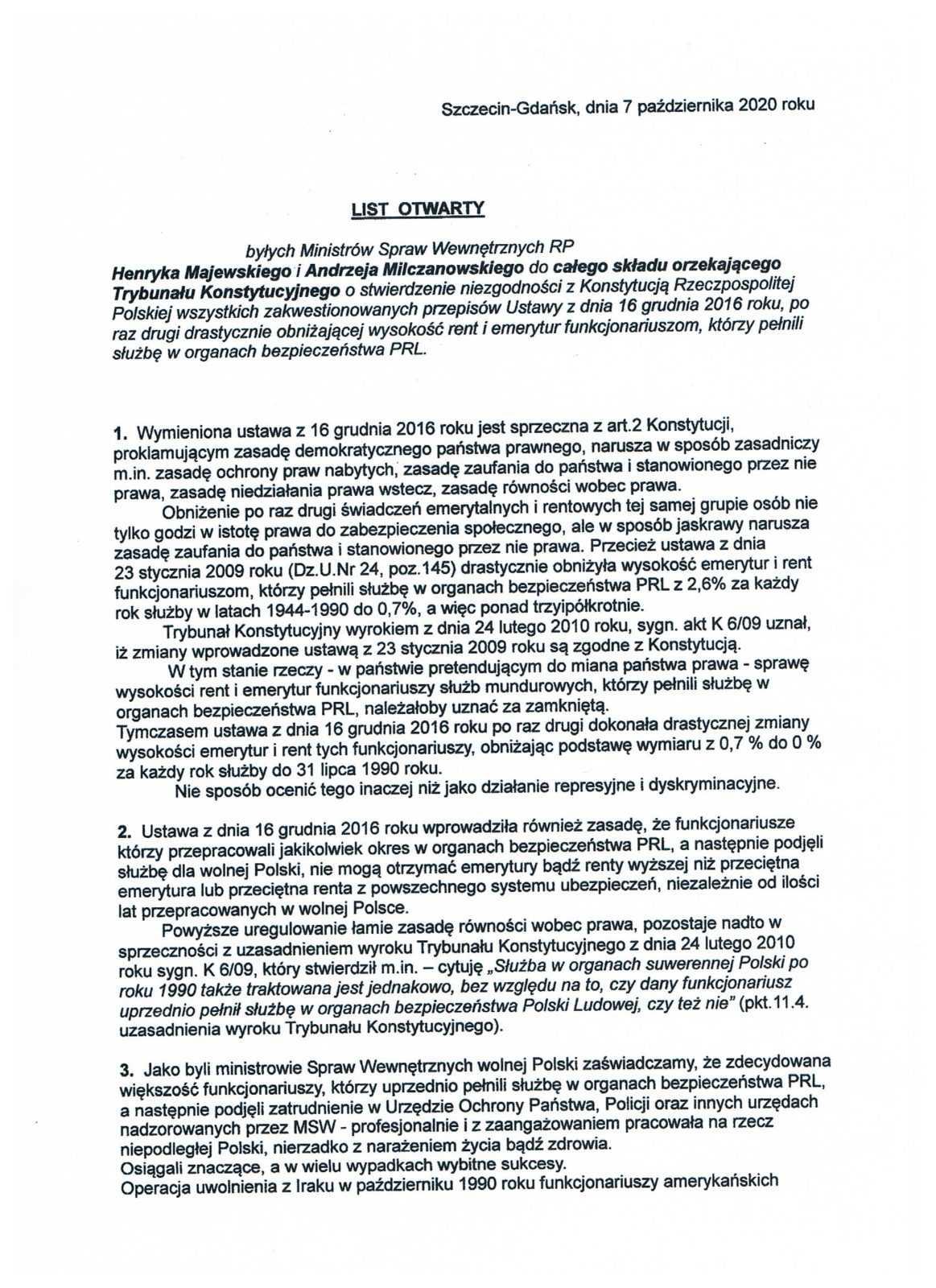 Ustawa represyjna: Milczanowski i Majewski piszą do TK o działaniach represyjnych i dyskryminacyjnych 5