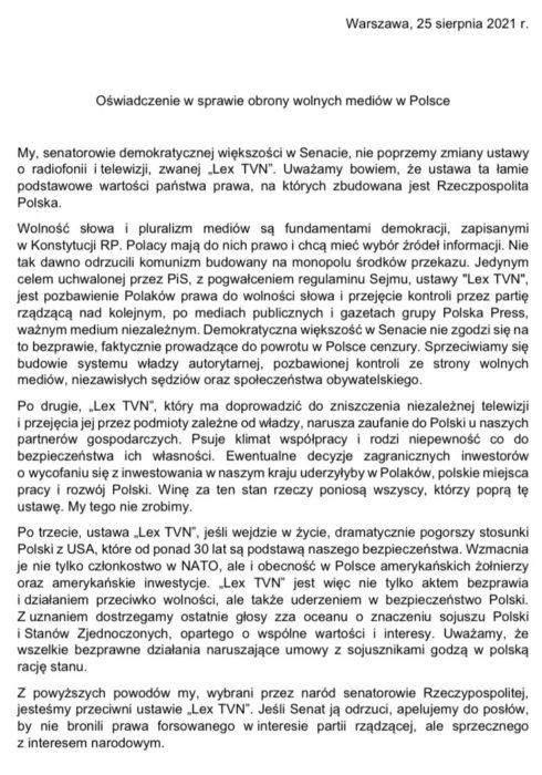 Bezprecedensowe oświadczenie polskich senatorów: nie zgadzamy się na cenzurę mediów w Polsce! 3